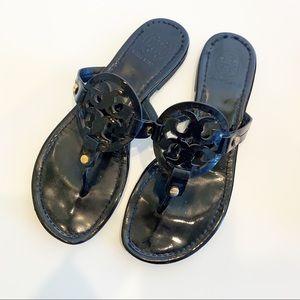 Tory Burch Miller Sandal Black Patent Leather